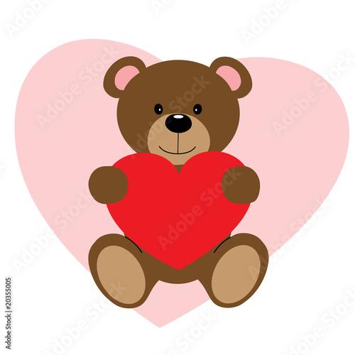 Teddy Bear Holding Heart #20355005