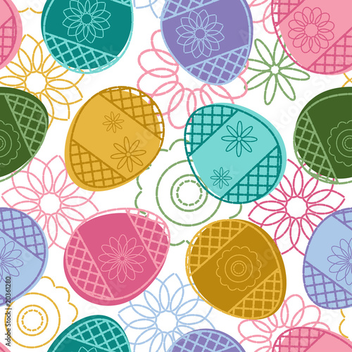 Cotton fabric Easter seamless pattern with decorated eggs