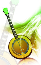 Illustration Of A Mandolin With Music Notes
