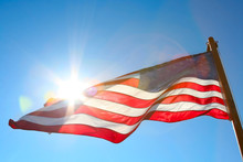 American Flag Backlit From The...