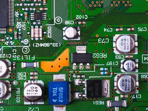 Poster de jardin Route Closeup of electronic circuit board