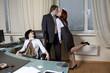 Business team over modern office background. Clerk`s affair