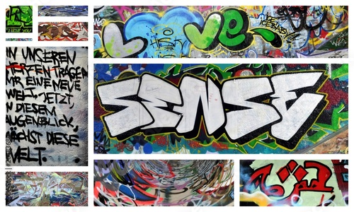 Deurstickers Graffiti collage love und sense