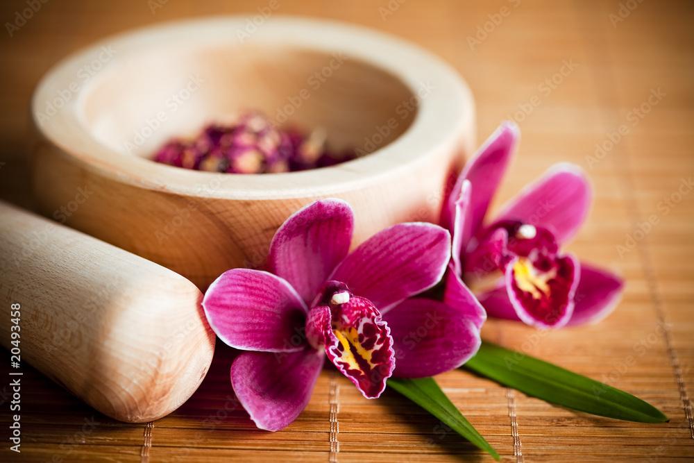 Fototapety, obrazy: Composition zen - fleurs orchidée et mortier bois