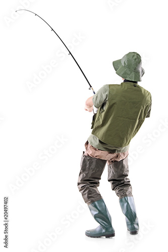 A young euphoric fisherman isolated on white Wallpaper Mural