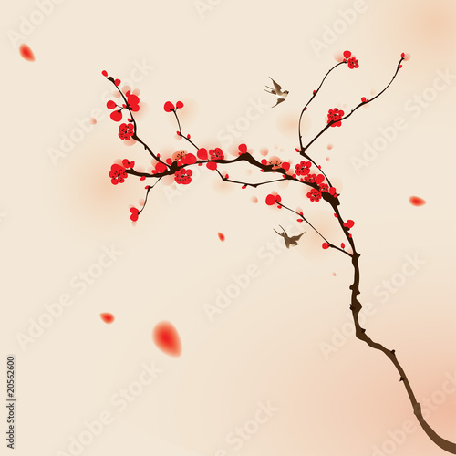Photo  oriental style painting, plum blossom in spring