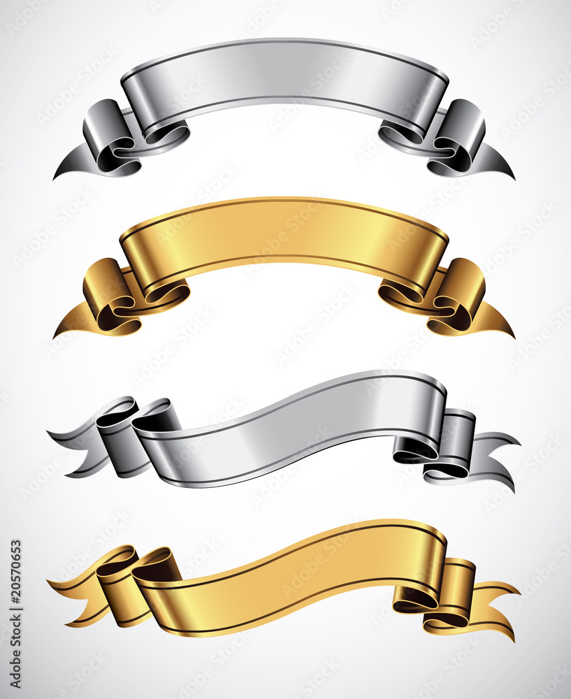 Fototapeta Set of gold and silver vector ribbons for your text