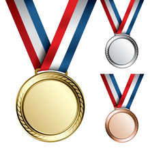 Three Detailed Vector Medals -...