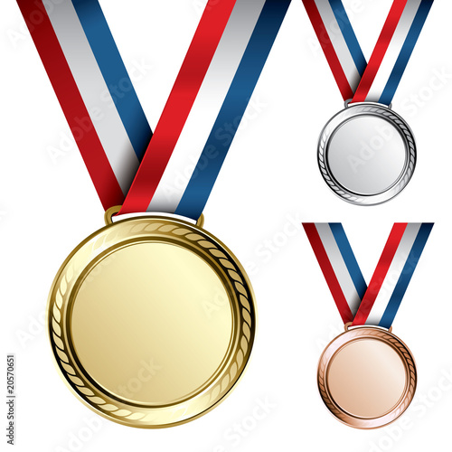 Fotografie, Obraz Three detailed vector medals - gold, silver and bronze