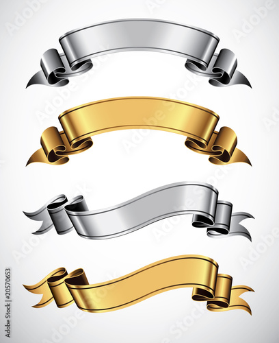 Fototapeta Set of gold and silver vector ribbons for your text obraz