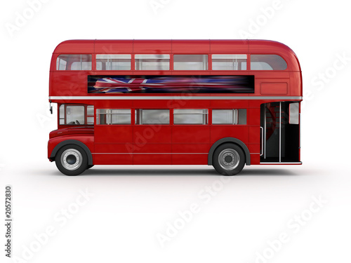Photo  Double decker bus - isolated on white