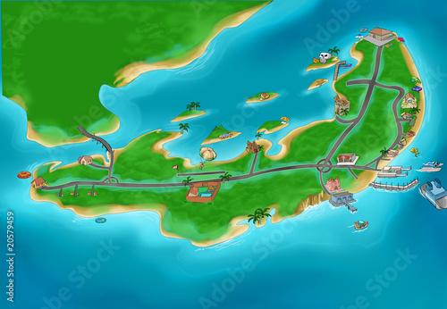 Poster de jardin Route Island map