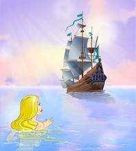 Mermaid Looks At Sailboat At S...
