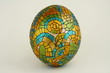 Painted Easter egg with geometric ornament