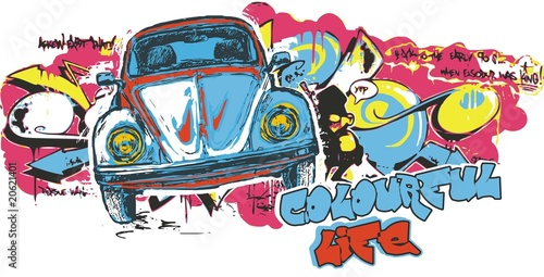Colourful Car Poster