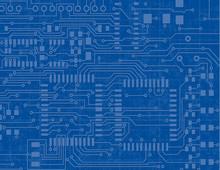 Circuit Board On A Blueprint B...