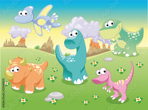Acrylic Prints Dinosaurs Dinosaurs Family with background, vector illustration.
