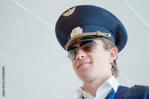 Photo  portrait of young pilot in Kastrup airport, copenhagen, denmark