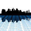 Lower Manhattan skyline with perspective text outline