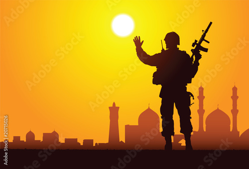 Poster Militaire Silhouette of a soldier with mosques on the background