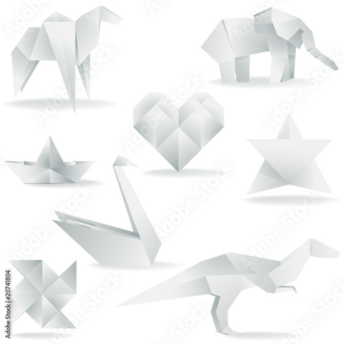 Various Origami Creations Buy This Stock Vector And Explore