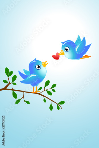 Poster Oiseaux, Abeilles tweet love