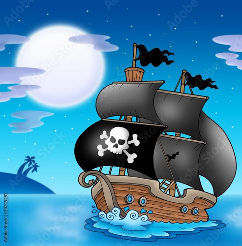 Ingelijste posters Piraten Pirate sailboat with Moon