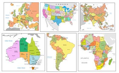Fototapeta Political map of continents