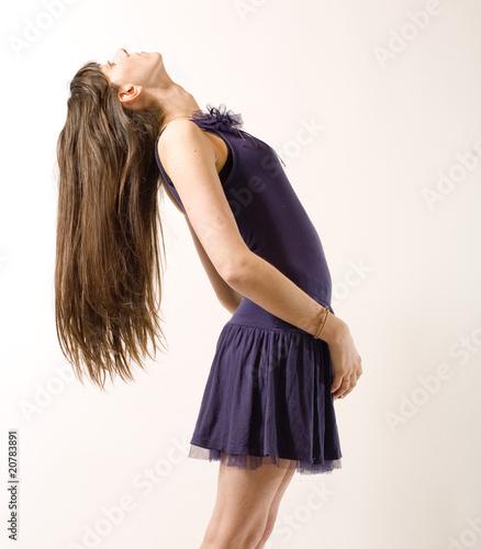 cheveux longs tête en arrière Fototapet