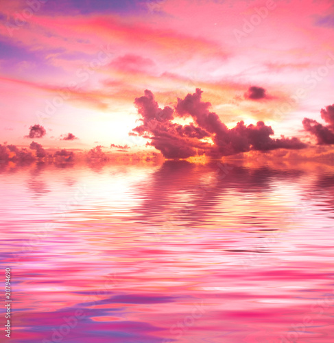 Aluminium Prints Candy pink Sunset
