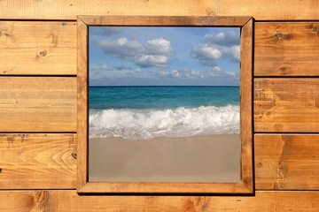 Fototapeta Window seascape view from wooden room