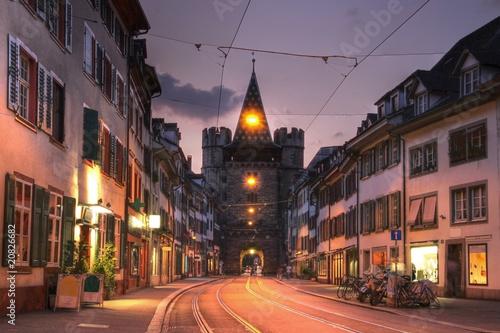 Spalentor Gate at twilight, in Basel, Switzerland Wallpaper Mural