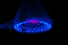 Gas Burning In A Gas Burner