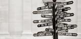 Famous signpost to landmarks in Portland, Oregon - 20855620