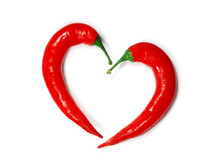 Two Chili Peppers Forming A Sh...