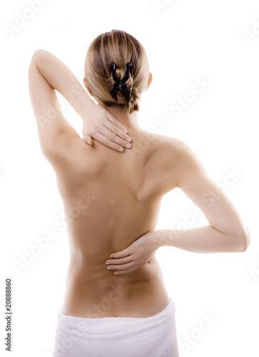 Fotografía  Woman massaging pain back