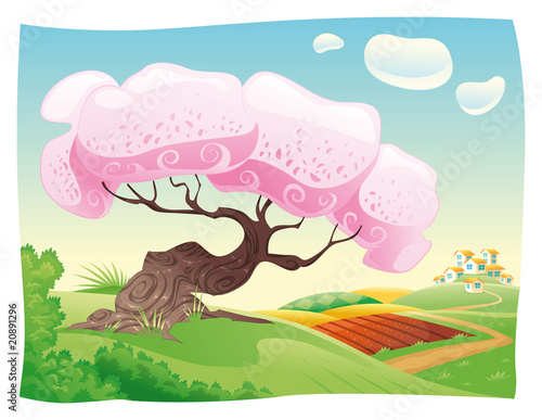 Poster Chambre d enfant Countryside. Vector and cartoon landscape.