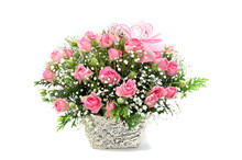 Pink Roses In A Basket On Whit...