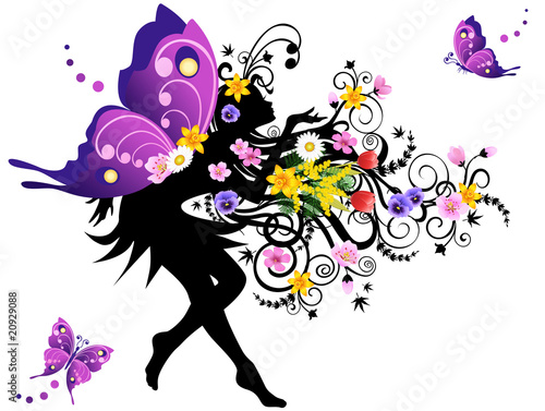 Deurstickers Bloemen vrouw Spring fairy with colorful wings