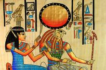 Papiro Egizio Con Regina E Dio Horus