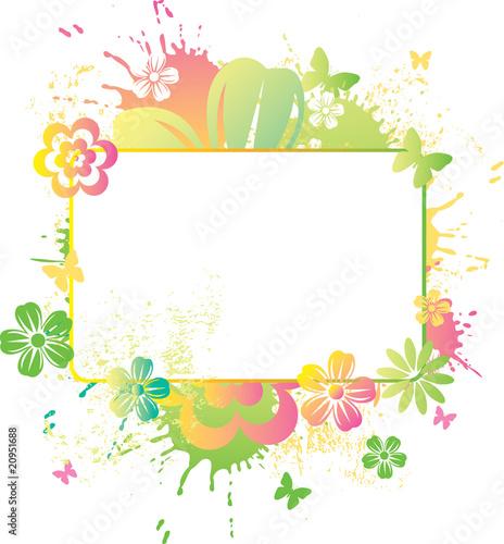 Staande foto Hoogte schaal Blank board in watercolor flowers