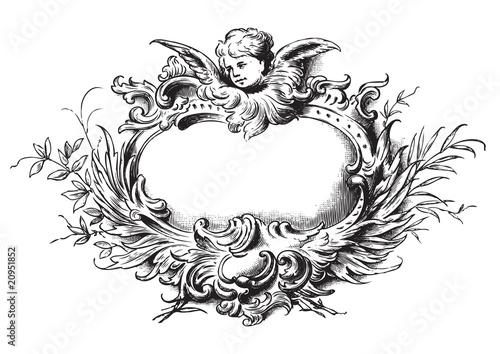 Valokuva  antique floral frame engraving (vector)