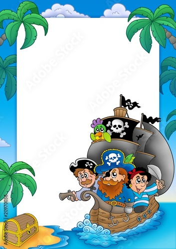 In de dag Piraten Frame with sailboat and pirates