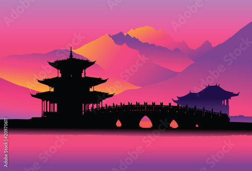 Chinese pagoda and bridge (Lijang, China)