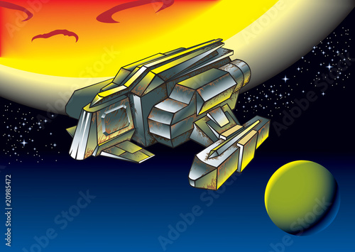 Garden Poster Cosmos Spaceship between two planets, vector illustration