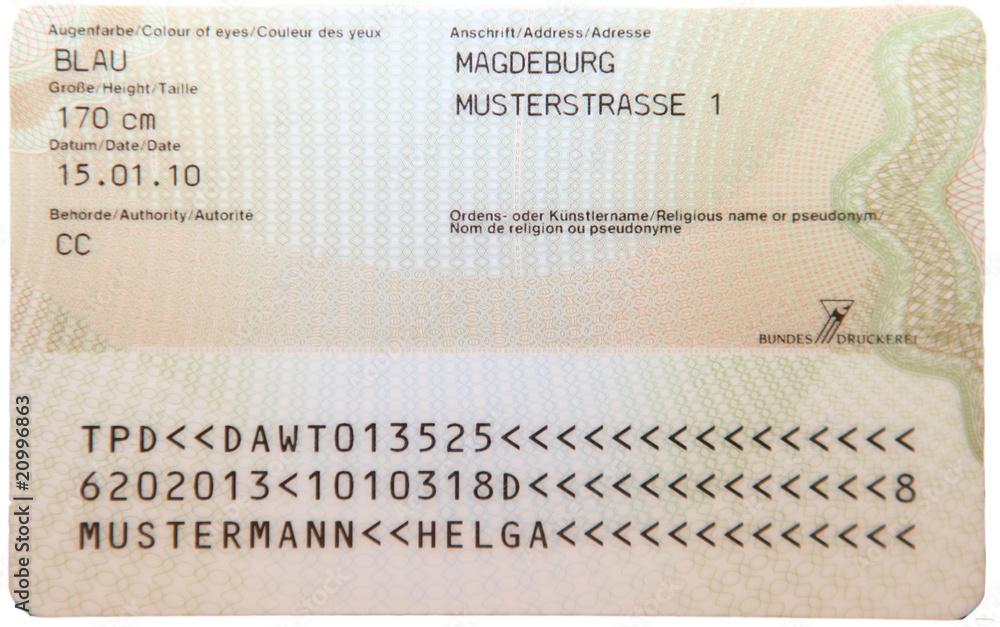 Fototapeta Personalausweis Deutschland 2010