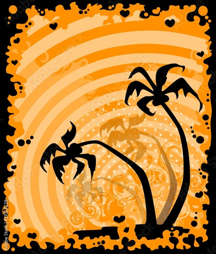 Foto-Kissen - summer banner with tropical palms