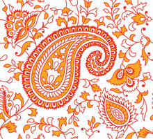Indian Textile Pattern Red Ora...