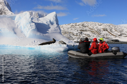 Foto op Canvas Antarctica People in Dinghy are very close to very dangerous leopard seals