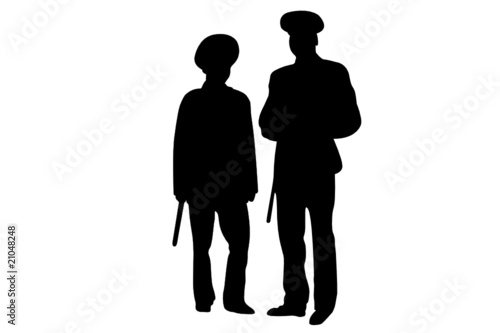 Fotografie, Obraz  Vector illustration of policemen contours